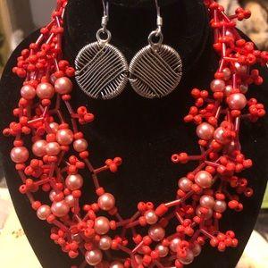 Coral Red Beaded Bib Choker + Silver Tone Earrings